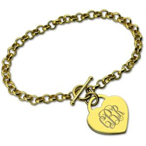 Heart Monogram Initial Charm Bracelet In Gold
