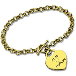 Personalized Heart Charm Name Bracelet 18k Gold Plated