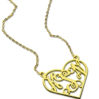 Cut Out Heart Monogram Necklace 18K Gold Plated