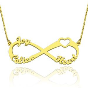 Infinity Necklace 3 Names 1 Heart 18K Gold Plated