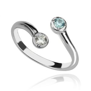 Distinctive and Dual Drops Birthstone Ring In Sterling Silver
