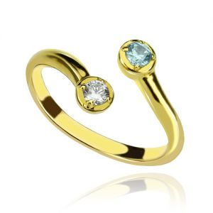 Dual Drops Birthstone Ring 18K Gold Plated