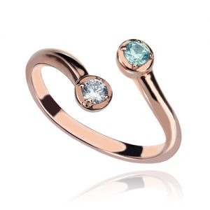 Neat Dual Drops Birthstone Ring Rose Gold