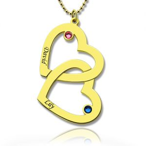 Custom Birthstone Heart in Heart Name Necklace 18k Gold Plated
