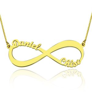 18k Gold Plated Infinity Necklace Double Names