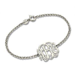 Clear-cut Texture Bracelet-Custom Sterling Silver Monogram Bracelet for Him/Her