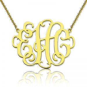 Stylish Three Initials Monogram Necklace 18K Gold Plated