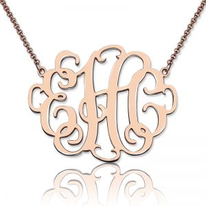 Personalized Stylish Monogram Necklace In Rose Gold