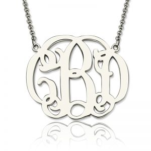 Women's Celebrity Monogram Necklace Sterling Silver 925