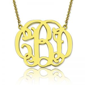 Personalized Celebrity Monogram Necklace 18K Gold Plated