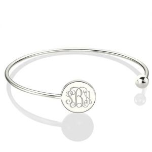 Valentine's Gift: Adjustable Silver Monogram Bangle Bracelet