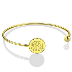 Disc Monogram Bangle Adjustable Bracelet 18k Gold Plated