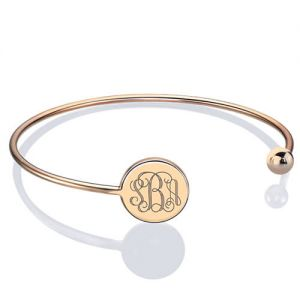 Disc Monogram Adjustable Bangle Bracelet 18k Rose Gold Plated