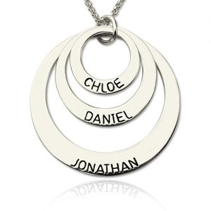 Engraved Sterling Silver 3 Names Disc Necklace for Mothers