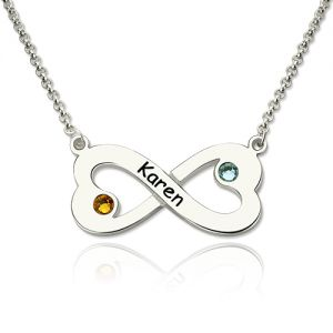 Engraved Silver Infinity Heart Necklace with Birthstone
