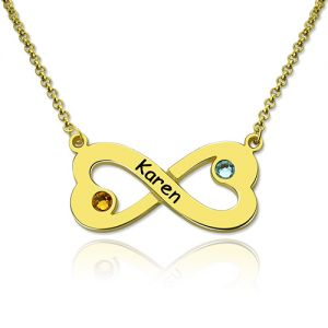 Engraved Infinity Heart Necklace with Birthstone in Gold Plated
