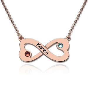 Engraved Infinity Heart Name Necklace with Birthstone Rose Gold