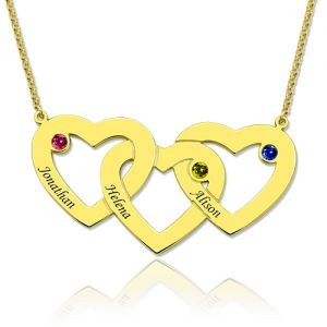Intertwined 3 Hearts & Birthstones Name Necklace In Gold