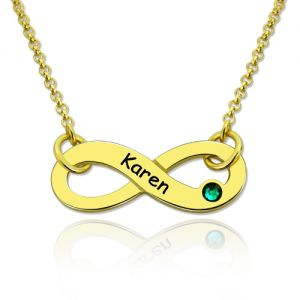 Spectacular Infinity Symbol Birthstone Name Necklace In Gold