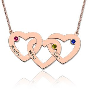 3 Intertwined Hearts Birthstones Name Necklace Rose Gold
