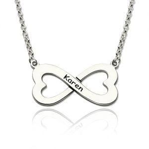 Infinity Heart-Shaped Name Necklace Gift for Her Sterling Silver