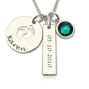 Baby Feet Disc Necklace With Birthstone For New Mom Sterling Silver