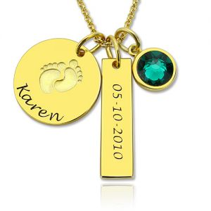 Baby Feet Disc Necklace With Birthstone For New Mom In Gold