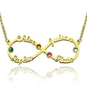 Personalized Infinity Four Name Necklace With Birthstones In Gold