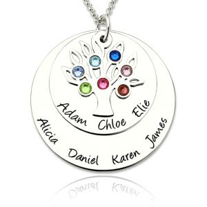Personalized Silver Disc Family Tree Name Necklace With Birthstones