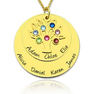 Personalized Disc Family Tree Necklace With Birthstones In Gold