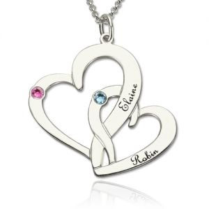 Two Heart Valentine's Name Necklace Gift for Her