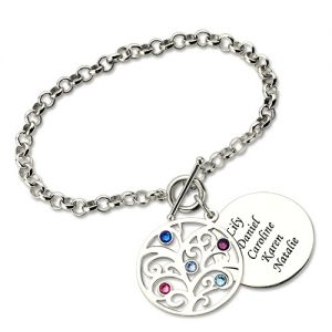 Engraved Family Tree Birthstone Bracelet Sterling Silver