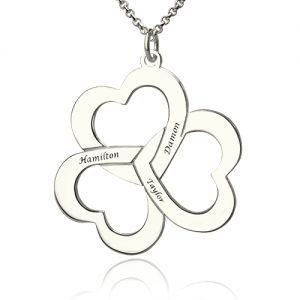 Personalized Triple Hearts Name Necklace in Silver
