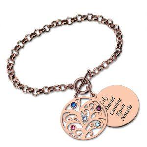 Engraved Family Tree Birthstone Bracelet In Rose Gold