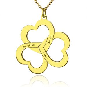 Personalized Triple Hearts Name Necklace Gold Plated