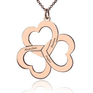 Personalized Triple Hearts Name Necklace Rose Gold Plated