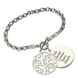 Personalized Disc Family Tree Bracelet Sterling Silver for Grandma
