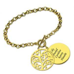 Personalized Disc Family Tree Bracelet Gold Plated