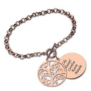 Bracelet Arbre de Vie-Jusqu'à 5 Prénoms-Plaqué Or Rose