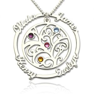 Silver Grandmother's Birthstone Family Tree Name Necklace