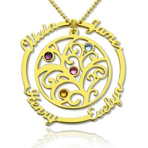 Birthstone Family Tree Necklace with Name for Mothers In Gold
