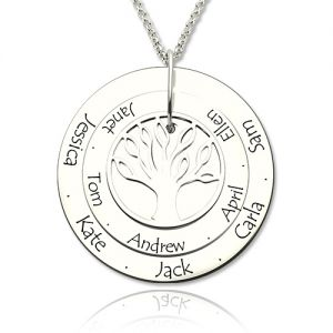 Disc Motherhood Tree Necklace for Grandma