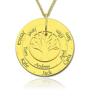 Disc Family Tree Name Necklace for Grandmother 18K Gold Plated