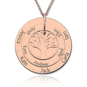 Disc Family Tree Names Necklace for Mother In Rose Gold
