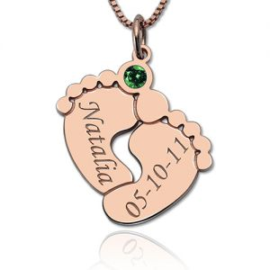 Engraved Baby Feet Necklace with Personalized Birthstone Rose Gold
