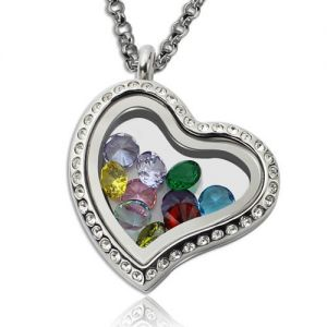 Birthday Floating Locket Gift for Her with Birthstone