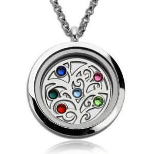 Incomparable Stainless Steel Family Tree With Birthstones Floating Locket