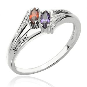 Sterling Silver Engraved Names Double Birthstones Ring