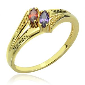 Engraved Double Birthstones Name Ring 18K Gold Plated Silver