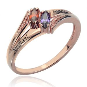 Gorgeous Engraved Double Birthstones Name Ring In Rose Gold